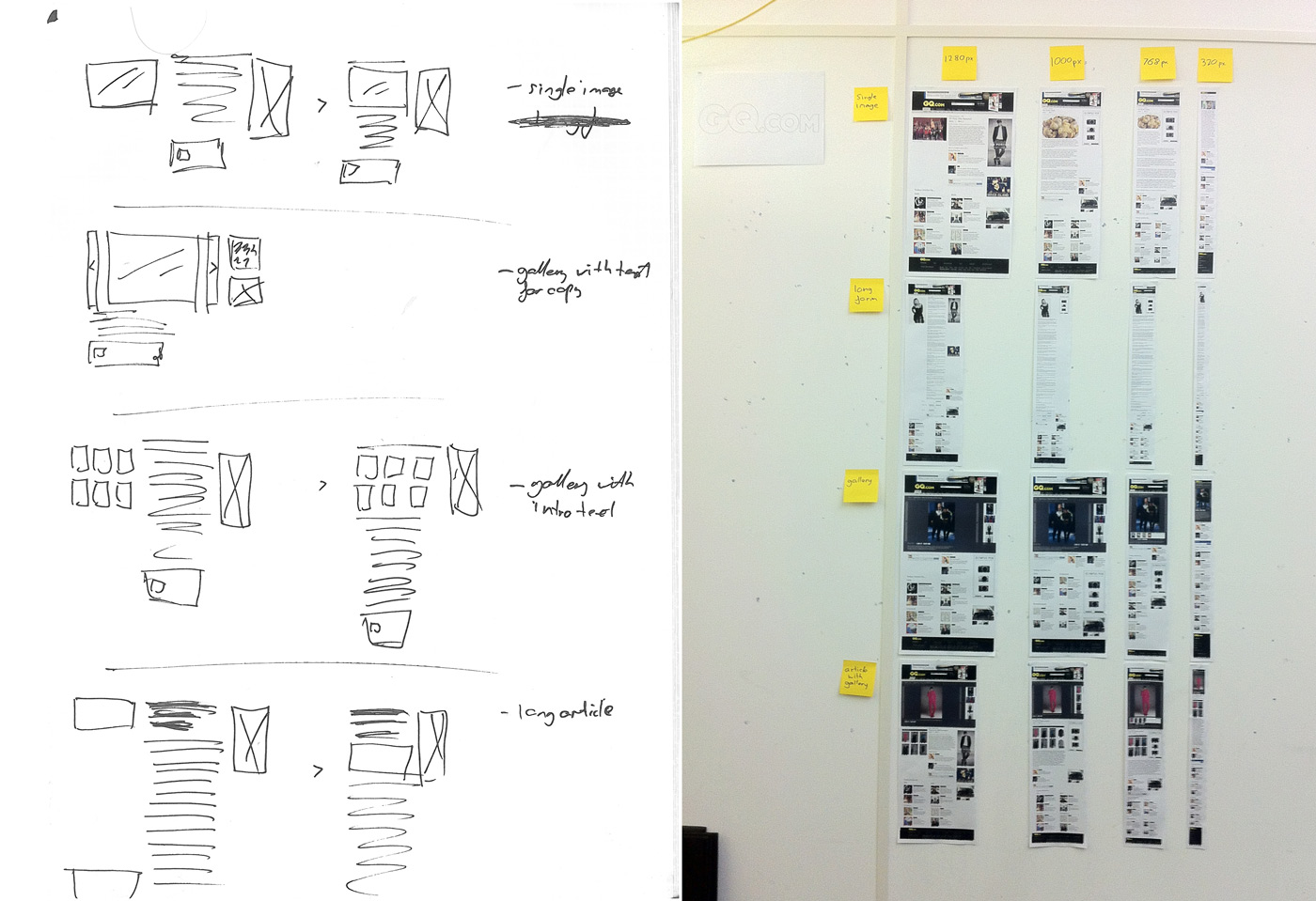 From early sketch to fully fleshed out wireframes