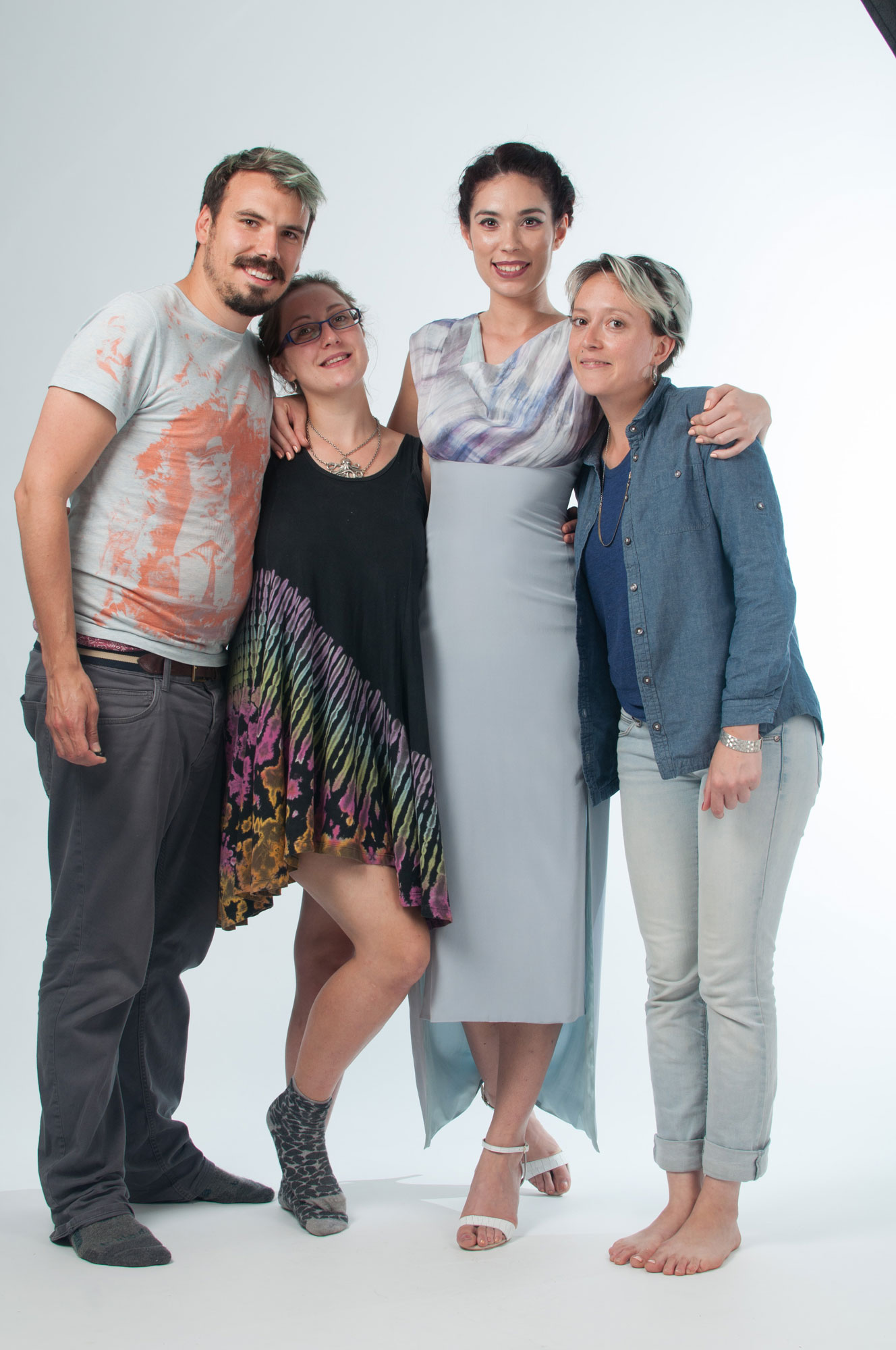A group shot of me, the designers and model after we finished the shoot