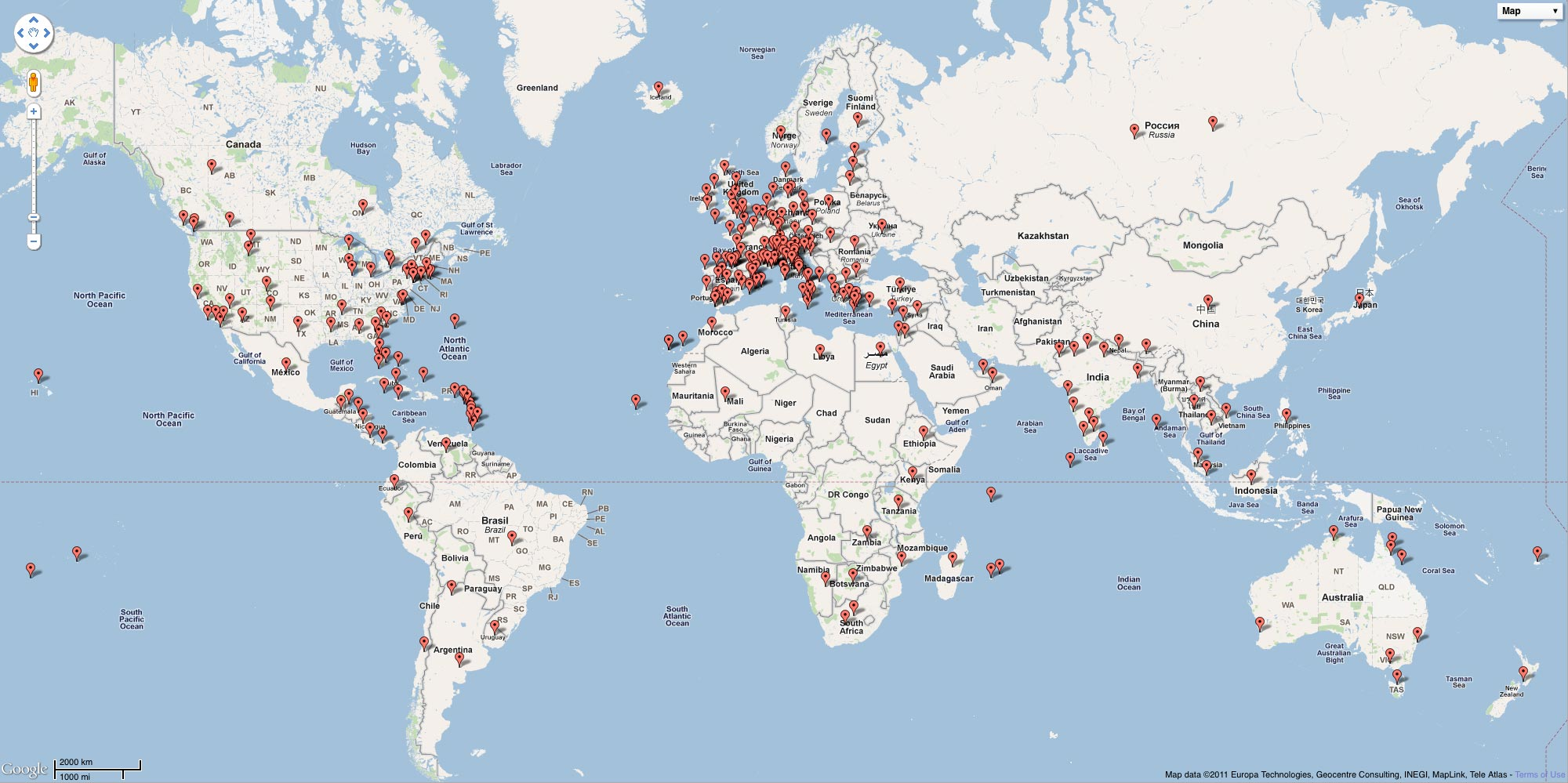 Map of the world with a pin for every place CNTraveller has content about