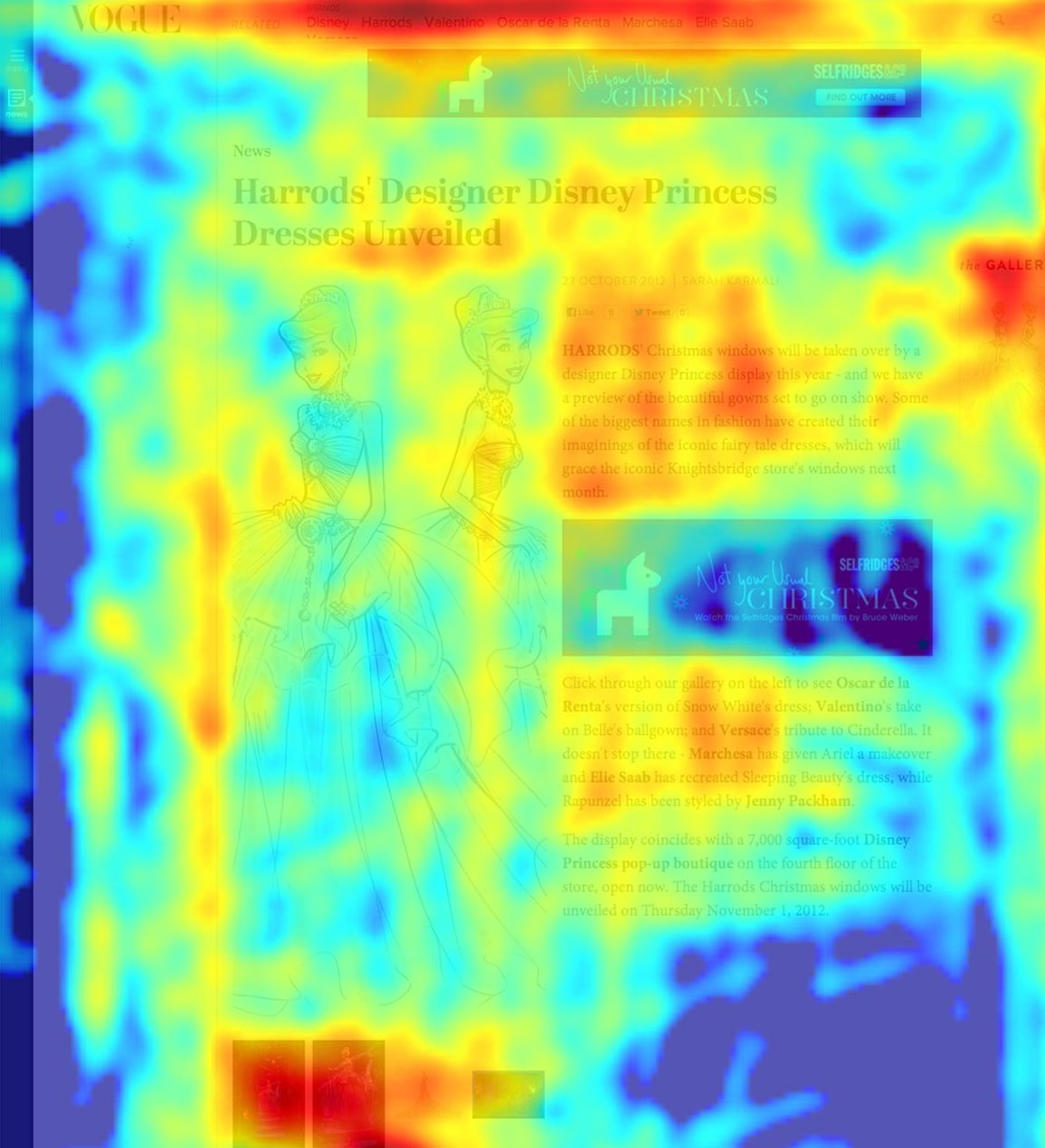 Heatmap showing usage of the new Vogue.co.uk Article