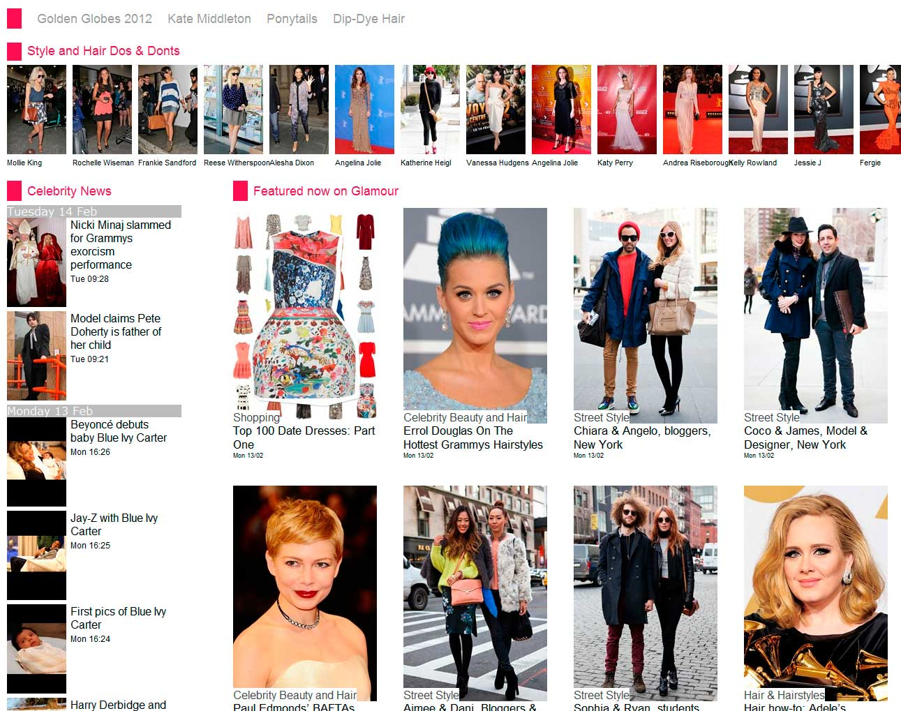 Screen grab of the Glamour prototype Homepage