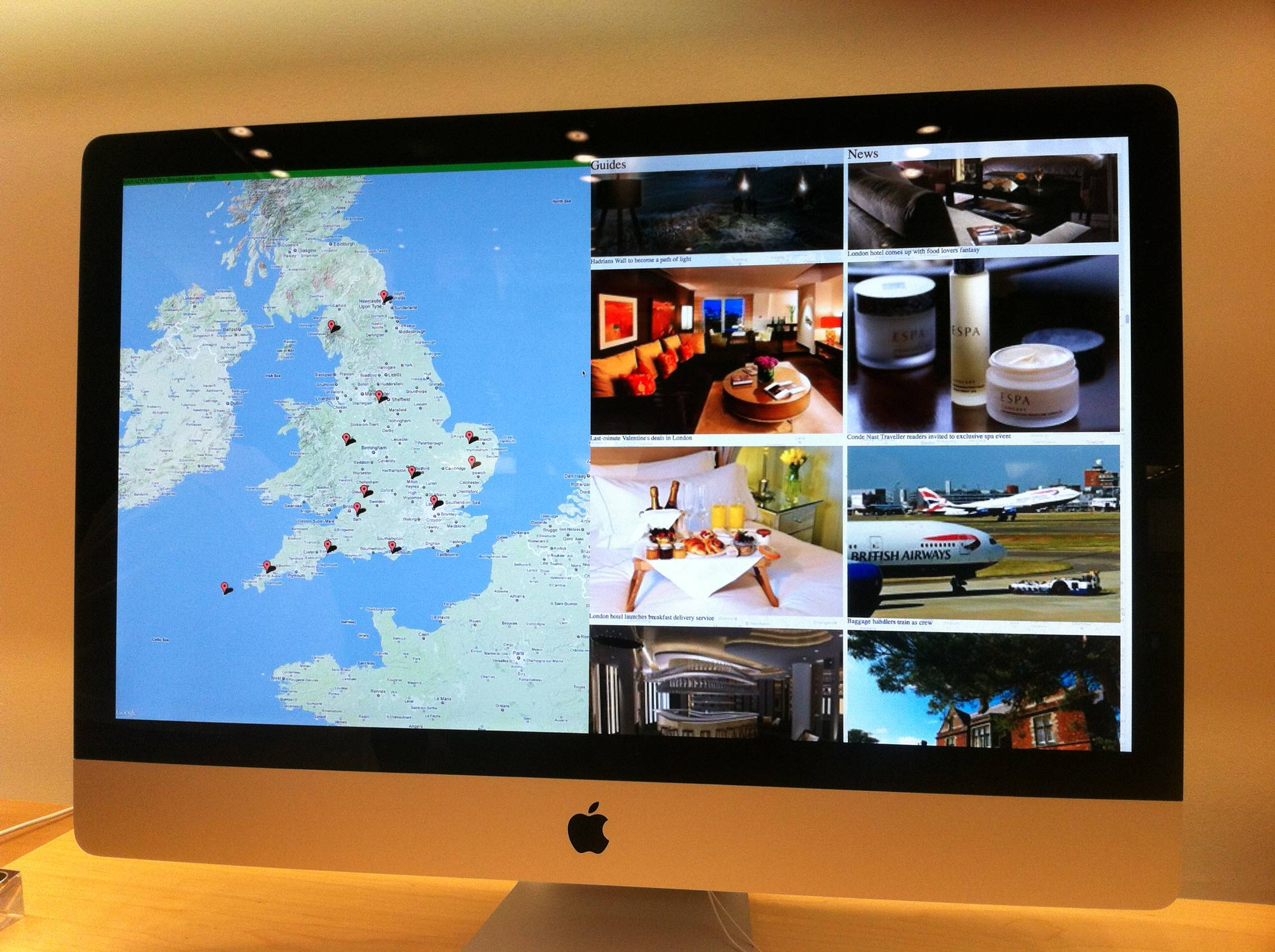Prototype of the England Guide page, testing in an Apple store