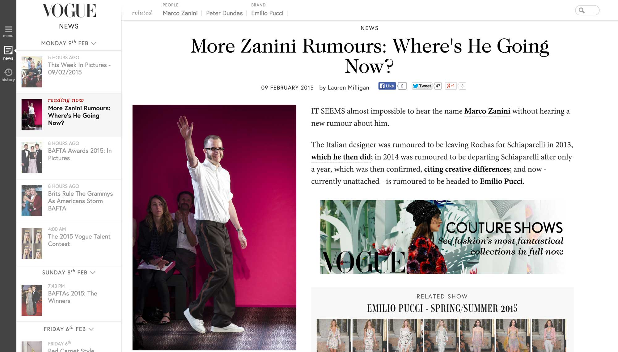 Screenshot of an article on the live Vogue.co.uk. Visual design by Kat Windley