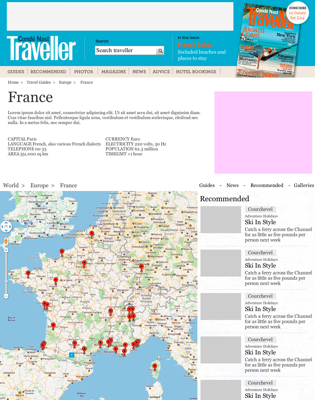 Wireframe of the Country Guide page
